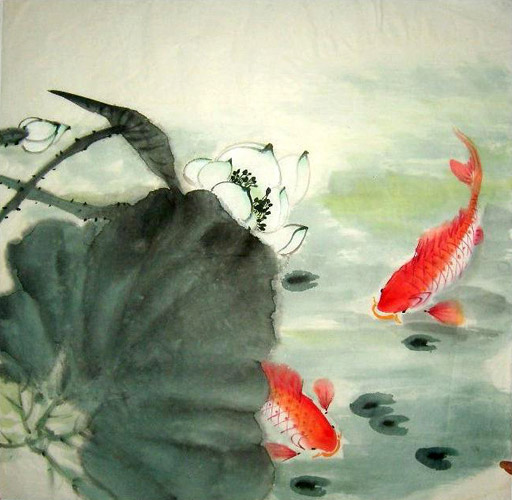 Chinese koi fish painting 0 2326005 69cm x 69cm 27 x 27 for Chinese coy fish