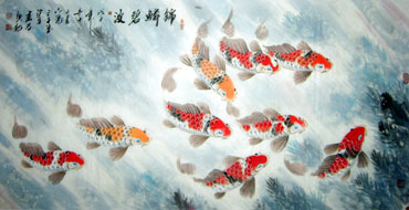 Chinese Koi Fish Painting,66cm x 136cm,2326006-x