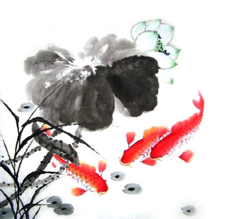 Chinese Koi Fish Painting,66cm x 66cm,2326012-x
