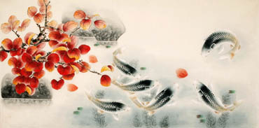 Chinese Koi Fish Painting,66cm x 130cm,2340039-x