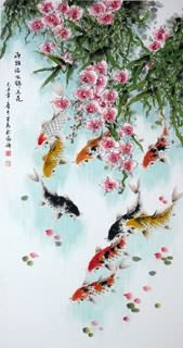 Chinese Koi Fish Painting,66cm x 136cm,2378001-x