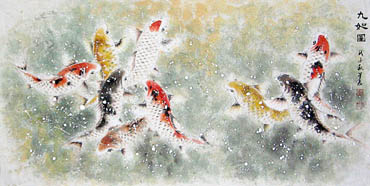 Chinese Koi Fish Painting,66cm x 136cm,2378003-x