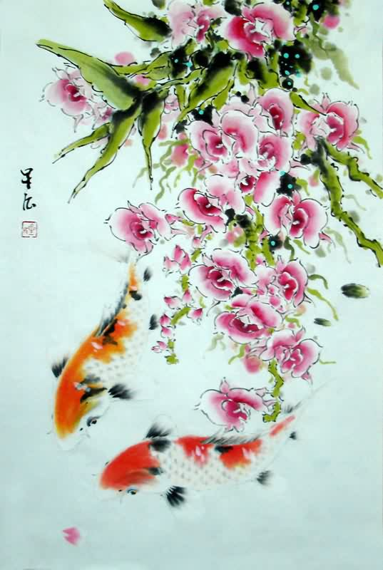 Chinese koi fish painting 0 2378005 69cm x 46cm 27 x 18 for Chinese koi fish painting