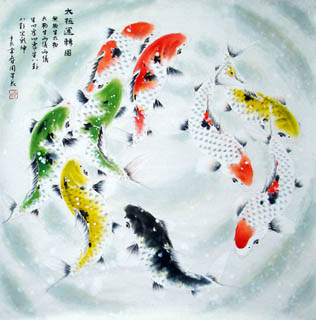 Chinese Koi Fish Painting,69cm x 69cm,2378011-x