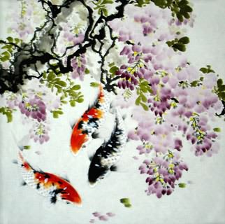 Chinese Koi Fish Painting,69cm x 69cm,2378012-x