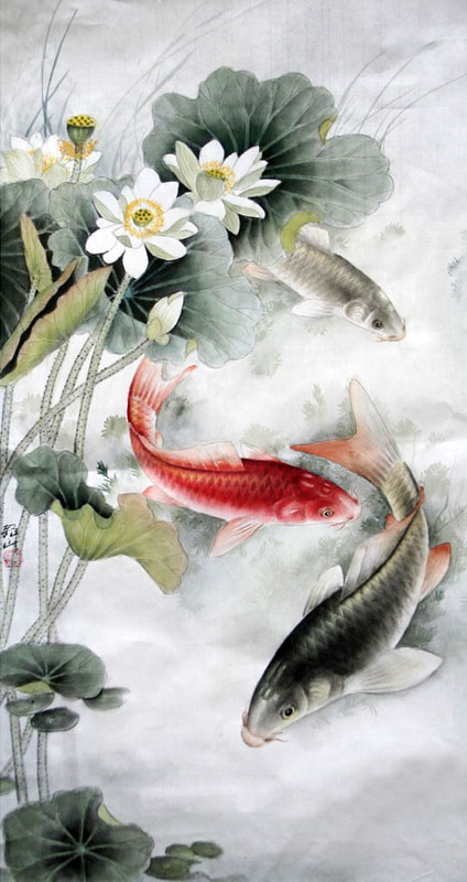Chinese koi fish painting 0 2379001 69cm x 46cm 27 x 18 for Chinese koi fish painting