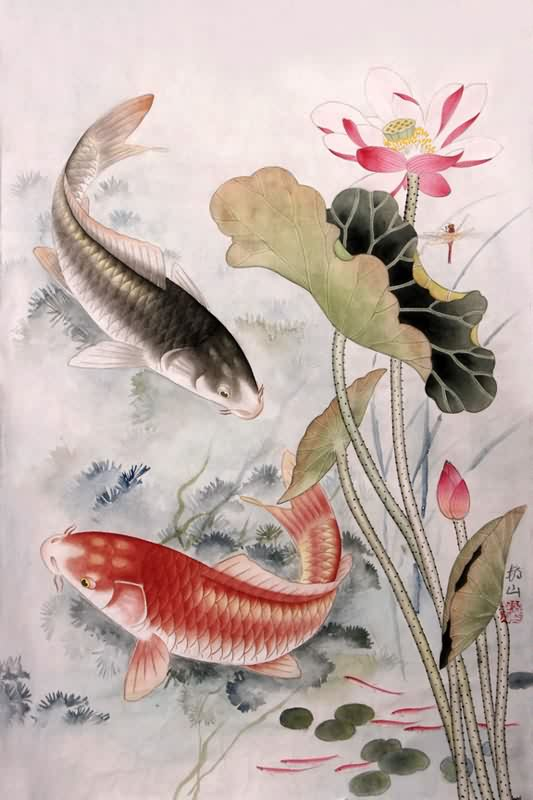 Chinese koi drawings for Chinese coy fish