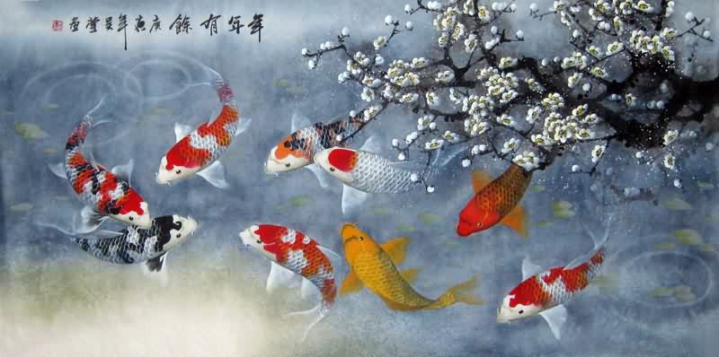 Chinese koi fish painting 0 2381001 66cm x 136cm 26 x 53 for Koi fish artwork