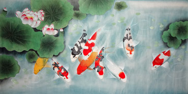 Chinese Koi Fish Painting,90cm x 170cm,2381008-x