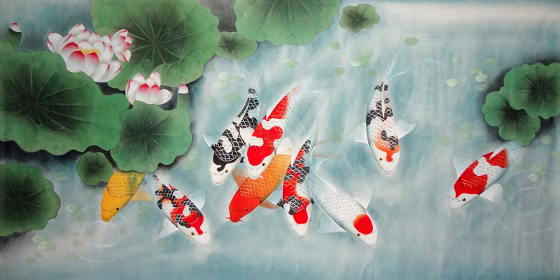 Chinese koi fish painting 2381008 90cm x 170cm 35 x 67 for Chinese coy fish