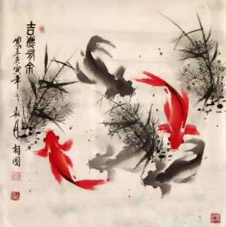 Chinese Koi Fish Painting,69cm x 69cm,2382001-x