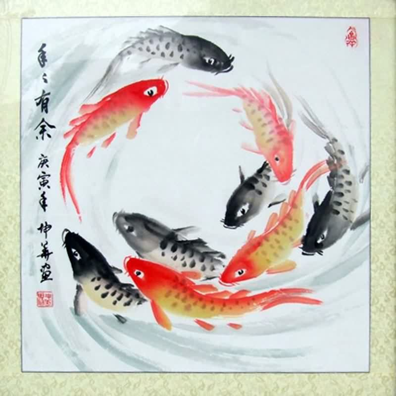 chinese painting gongbi goldfish koi 26x26 brush ink watercolor oriental art goldfish