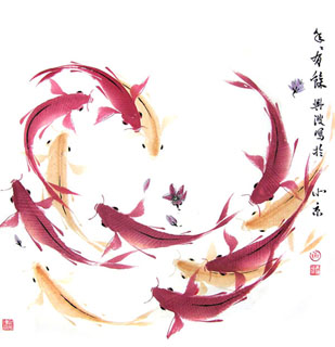 Chinese Koi Fish Painting,69cm x 69cm,2386002-x