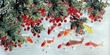 Chinese Koi Fish Painting,66cm x 136cm,2387002-x