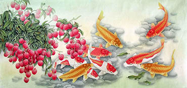 Chinese Koi Fish Painting,66cm x 136cm,2387032-x