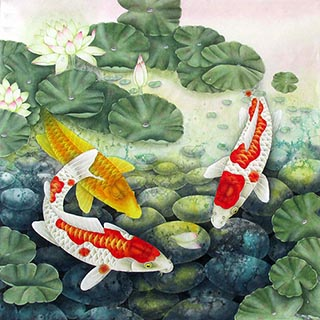 Chinese Koi Fish Painting,66cm x 66cm,2387034-x