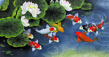 Chinese Koi Fish Painting,50cm x 100cm,2387037-x