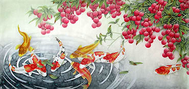 Chinese Koi Fish Painting,66cm x 136cm,2387040-x