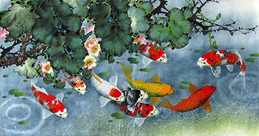 Chinese Koi Fish Painting,50cm x 100cm,2387041-x