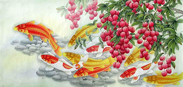 Chinese Koi Fish Painting,66cm x 136cm,2387043-x