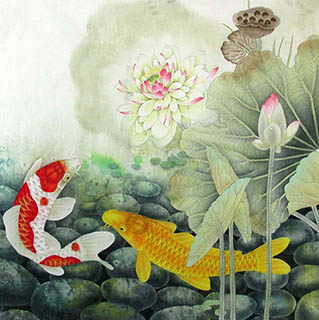 Chinese Koi Fish Painting,66cm x 66cm,2387044-x