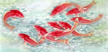 Chinese Koi Fish Painting,66cm x 136cm,2387045-x