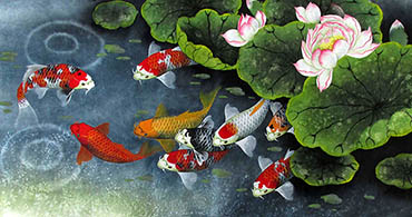 Chinese Koi Fish Painting,50cm x 100cm,2387046-x
