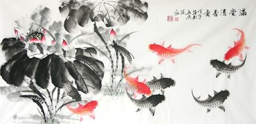 Chinese Koi Fish Painting,66cm x 136cm,2546003-x