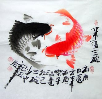 Chinese Koi Fish Painting,33cm x 33cm,2546004-x