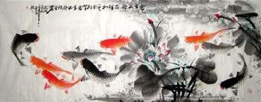 Chinese Koi Fish Painting,50cm x 130cm,2546006-x