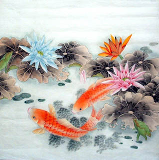 Chinese Koi Fish Painting,66cm x 66cm,2614003-x
