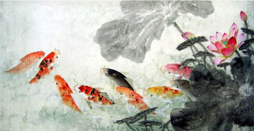 Chinese Koi Fish Painting,66cm x 136cm,2614022-x