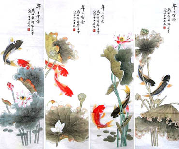 Chinese Koi Fish Painting,40cm x 130cm,2702027-x