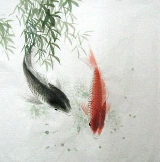 Chinese Koi Fish Painting,69cm x 69cm,2805011-x
