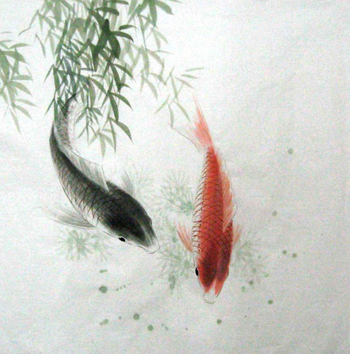 Chinese koi fish painting 0 2805011 69cm x 69cm 27 x 27 for Chinese coy fish