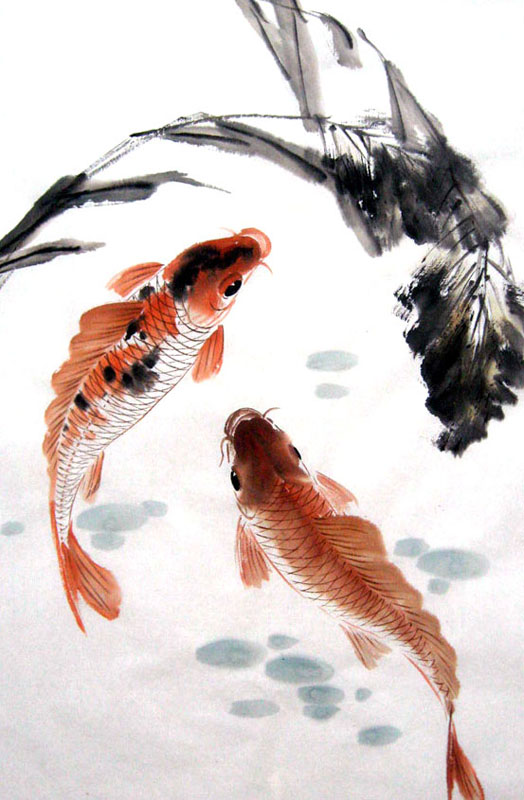 Chinese koi fish painting 0 2805012 69cm x 46cm 27 x 18 for Chinese coy fish
