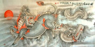 Chinese Kylin Painting,66cm x 130cm,4317003-x