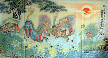Chinese Kylin Painting,90cm x 170cm,4317022-x
