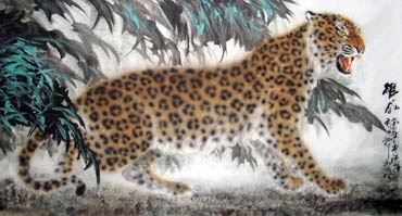 Chinese Leopard Painting,97cm x 180cm,4486004-x
