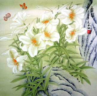 Chinese Lily Painting,66cm x 66cm,2319080-x