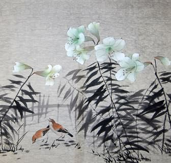 Chinese Lily Painting,69cm x 69cm,2322011-x
