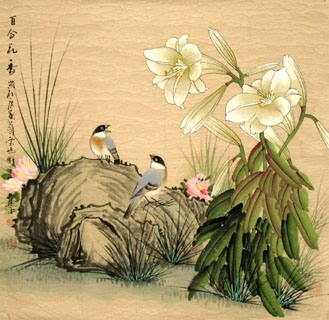 Chinese Lily Painting,66cm x 66cm,2327012-x