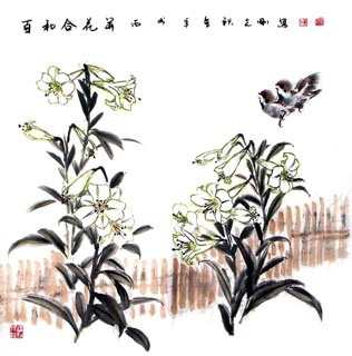 Chinese Lily Painting,69cm x 69cm,2360029-x