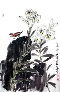 Chinese Lily Painting,69cm x 46cm,2360030-x