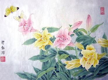 Chinese Lily Painting,34cm x 46cm,2405001-x