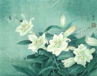 Chinese Lily Painting,50cm x 60cm,2609001-x