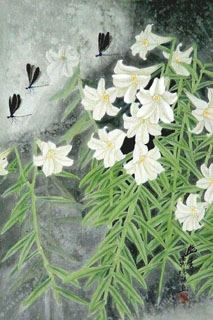Chinese Lily Painting,45cm x 65cm,2609003-x
