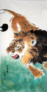Chinese Lion Painting,66cm x 136cm,4374003-x