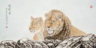 Chinese Lion Painting,66cm x 136cm,4441002-x