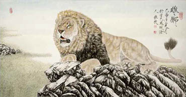 Chinese Lion Painting,66cm x 136cm,4441003-x